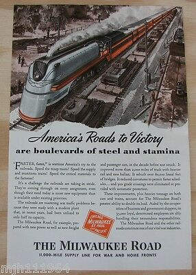 """1940's The Milwaukee Road WWII advertisement """"Americas roads to victory"""""""