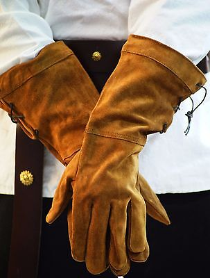 Medieval-Larp-SCA-Pagan-Cosplay-LEATHER GAUNTLET HUNTING GLOVES Two Colours