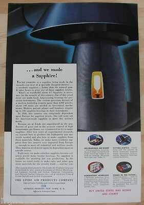 """1940's Linde air products co WWII advertisement """"we made Sapphire"""""""