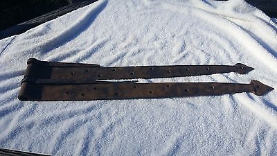 LARGE HEAVY Vintage HAND MADE Set of 2 Barn Door Strap Hinges   #684