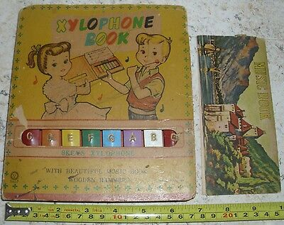 RARE  VINTAGE TIN MUSIC  XYLOPHONE BOOK made in JAPAN   50s   With Music BOOK