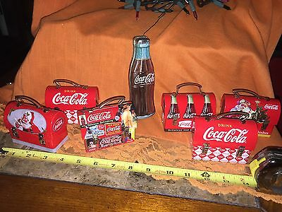 Coca Cola Collectible Tin Ornaments 6 Lunchbox And 1 Bottle