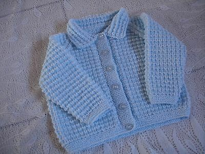 """Hand Knitted Baby Jacket chest size 22"""" - 3-6 months  Blue"""
