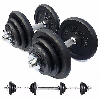 40kg Cast Iron Dumbbell Set Free Weights Training Home Gym Biceps Triceps Bars