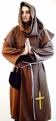 Medieval-Gothic-DELUXE WOOL MONK/PILGRIM TUNIC & HOOD Costume All Sizes