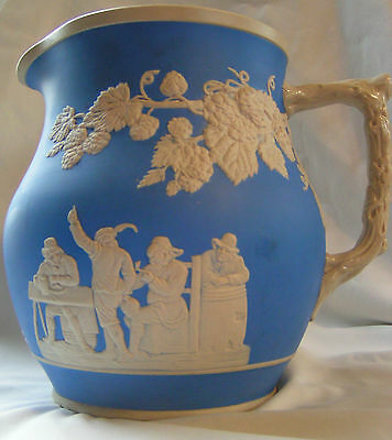 Antique English Blue Jasperware Copeland Spode Pottery Pitcher in High Relief