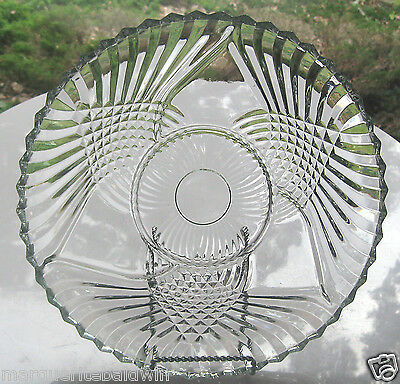 "Indiana Glass Clear Trillium Enchantment 12"" Relish Divided Tray Platter Plate"