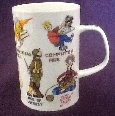 """Dunoon Bone China Mug 4"""" Tall """"AGES OF MAN Millennium""""Designed By Cherry Denman"""