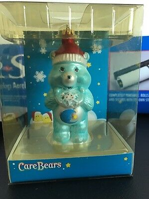2005 Blue Care Bear Bedtime Blown Glass Ornament American Greetings