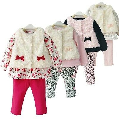 Baby Girl Toddler Casual Party Birthday Winter Autumn Faux Fur Kids Outfit Set