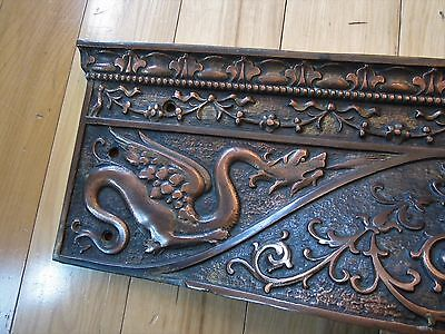 GRIFFINS! Ornate Cast Iron Copper? Wall Pocket Victorian Fireplace Hood Grate