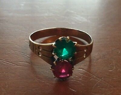 Antique Victorian 10K Rose Gold Green & Red Stone Ring Size 6 1/2