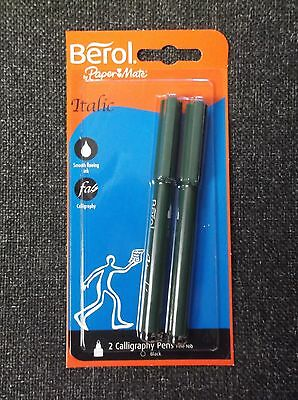 Pack of 2 Berol Italic Black Calligraphy Pens Fine Nib - Ideal for writing / art