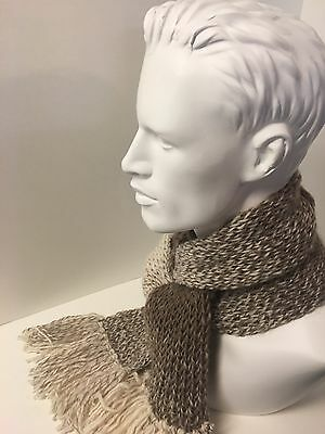 Handmade Taupe and Cream Scarf
