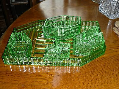 Unusual Shaped Art Deco Five Piece Green Glass Dressing Table Set