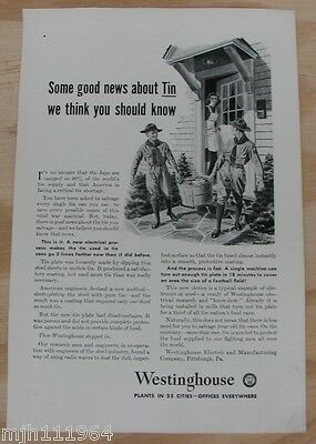 """1940's Westinghouse WWII advertisement """"Tin electroplating"""""""