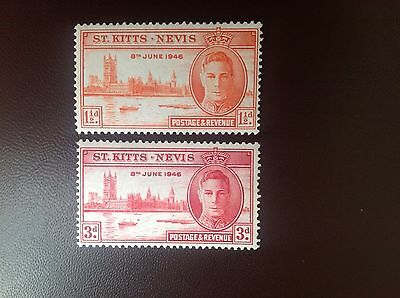 St Kitts Nevis 1946 Victory Set MH