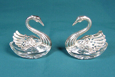 Set of Two Sterling Silver and Crystal Swan Salt Cellars