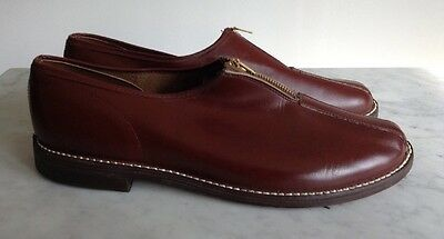 Vintage 1940's Mens Cordovan Zipper Leather BF Goodrich Slippers Casual Shoes 10