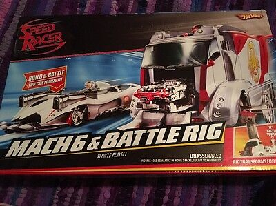 New In Box Sealed Speed Racer Mach 6 & Battle Rig Vehicle Playset Transforms