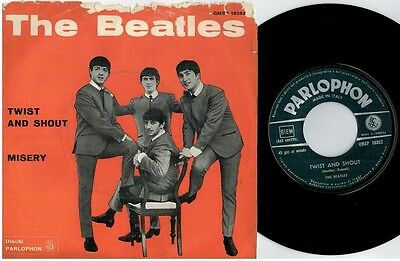 THE BEATLES Twist and shout Misery 45rpm 7' + PS 1964 ITALY MINT- Green
