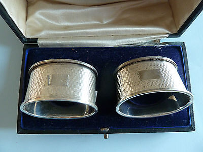 BOXED Pair of  Solid SILVER Napkin RINGS, 1954. FH Adams & Holman. NOT ENGRAVED