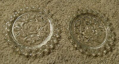 "2 Vintage German Democratic Republic 4"" Glass Coasters Rose Floral Pattern Mint!"