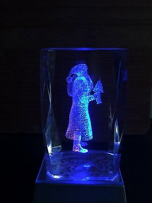 Glass Laser Etched Glass Santa Christmas Paperweight Ornament and Light Box