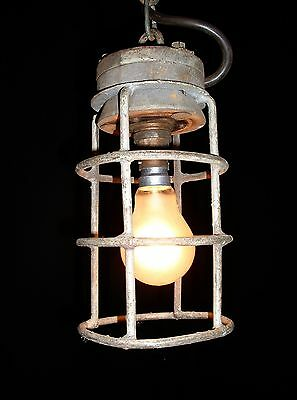 Old French iron wood industrial chandelier lamp