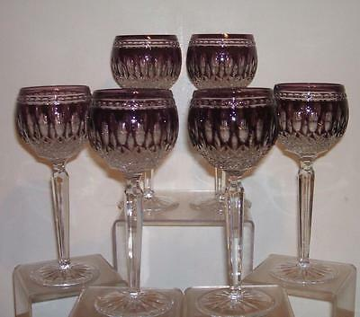 Set Of 6 - Waterford Amethyst Purple Clarendon Wine Hock Glasses