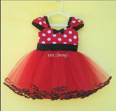 Kids Girls Baby Toddler Minnie Mouse Party Costume Tutu Dress For Christmas