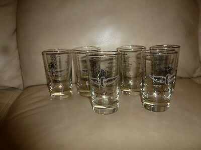 Vintage Indianapolis Motor Speedway Set of 6 Glasses  Race car
