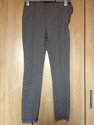 Ladies Newlook Black Patterned Slim Leg Tailored Trousers Size 10