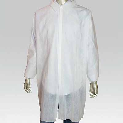 Royal Large White Poly Pro Disposable Lab Coats, Pack of 30, LC0-ENW-L