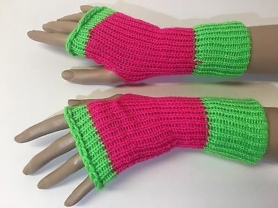 Handmade Neon Green and Pink Fashion Fingerless Gloves