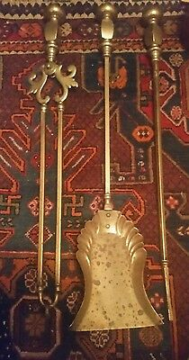 3 Large Antique  Brass Companion Set Open Fire Place Shovel Poker 27""