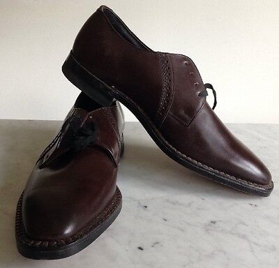 Vintage 1940's Leather Brown Johnsonian Dress Shoes Mens 7 Womens 8 USA Made