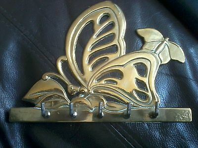Brass Butterfly Key  Wall Hanger with 5 hooks 7 x 5 inches
