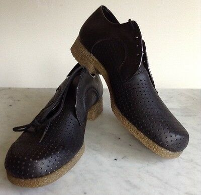 Vintage Mens Black Perforated Leather Johnsonian Dress Shoes Sz 11 W Made In US