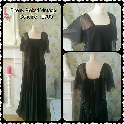 Vintage 1970s Black Angel Sleeve Maxi-Dress Party Evening Cocktail Ball Uk 10-12
