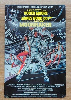 James Bond Plaque Tole Moonraker Roger Moore Vintage