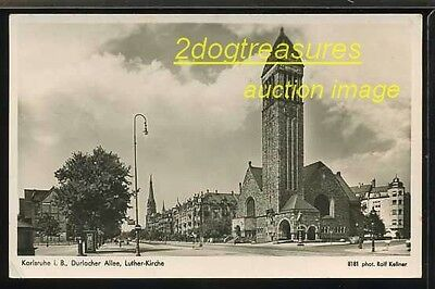 RPPc Karlsruhe Durlacher Allee, Luther-Kirche Germany German Real Photo