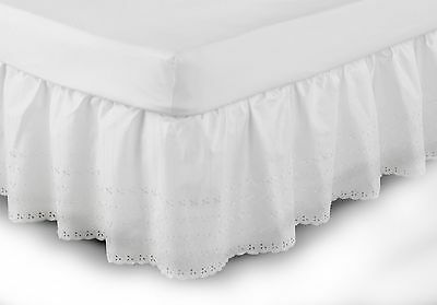 Broderie Anglaise Easy Fit Valance in White Double 137cm x 191cm x 41cm