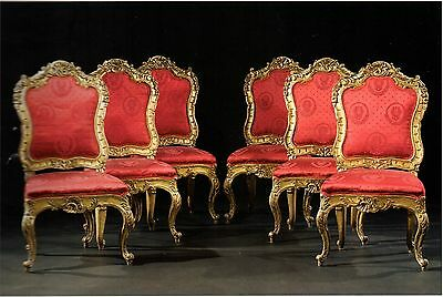 A set of Six Italian Carved Giltwood chairs, Roman 18th century - RARE