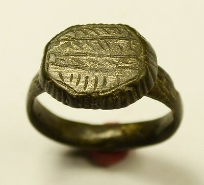 Massive Roman Bronze Ring With Decorated Bezel - Wearable