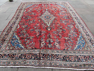 Old Traditional Hand Made 12x9 Persian Oriental Wool Red Large Carpet 366x265cm