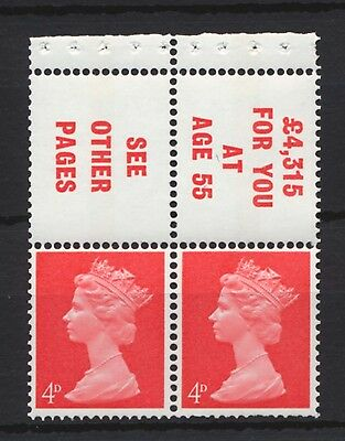 1969 SG733L Booklet Pane. Two Stamps plus two printed labels. Unmounted Mint MNH