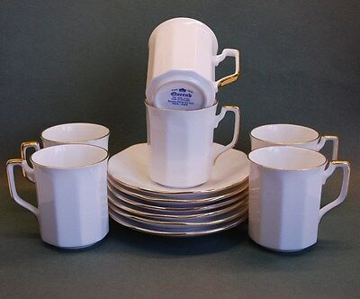 Six (6) Queens Fine Bone China White & Gold Coffee Cups & Saucers