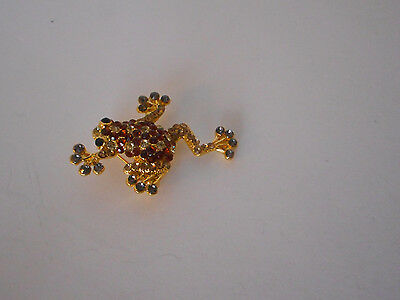 Adorable!  Frog  pin brooch rhinestone accents new without tags black gift box