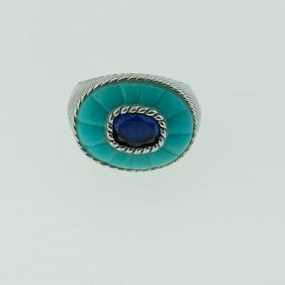 Judith Ripka Sterling Silver Carved Turquoise & Blue Corundum Ring Size 8